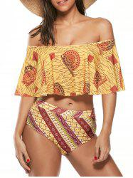 Off-The-Shoulder High Waisted Tribal Bikini Set