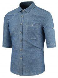 Half Sleeve Button Pocket Denim Shirt