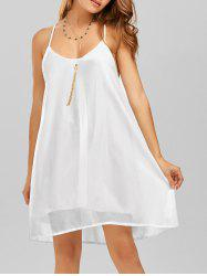Double Layer Spaghetti Strap Chiffon Beach Dress - WHITE