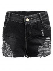 Denim Distressed Mini Shorts - BLACK