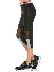 Striped Trim Mesh Panel Gym Running Capris Leggings - BLACK