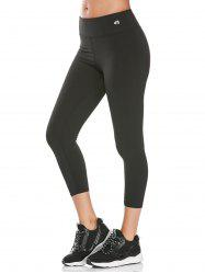 High Rise Fitness Gym Capri Leggings - BLACK
