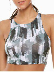 Camouflage High Neck Cropped Sports Bra - GEOMETRIC PRINT