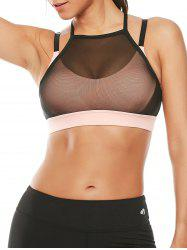 Mesh Panel Padded High Neck Workout Bra - PINK