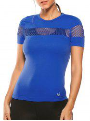 Openwork Crew Neck Fishnet Mesh Insert Gym T-Shirt - BLUE