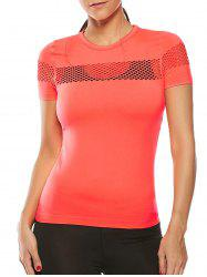 Openwork Crew Neck Fishnet Mesh Insert Gym T-Shirt