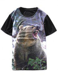 3D Bear Printed Crew Neck T-Shirt