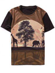 Animal and Tree Printed Crew Neck T-Shirt