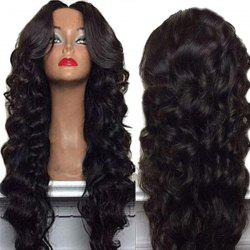 Long Center Parting Shaggy Body Wave Synthetic Wig - NATURAL BLACK