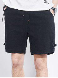 Frog Button Drawstring Shorts - BLACK