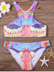 Colorful Tribal Printed  Racerback Padded Bikini Swimsuit