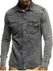 Snap Button Pocket Turndown Collar Denim Shirt