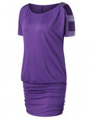 Rhinestone Decorated Open Shoulder Tee Dress - PURPLE