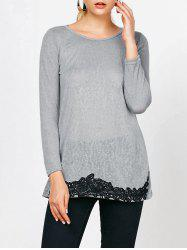 Long Sleeve Lace Trim T-Shirt