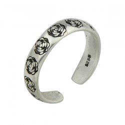 Engraved Rose Flower Vintage Cuff Ring