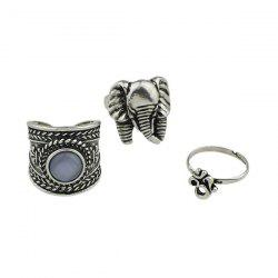 Engraved Elephant Alloy Gypsy Ring Set