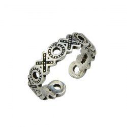 Engraved Circle Cuff Ring - SILVER