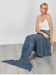 Fashion Comfortable Solid Color Handmade Wool Knitted Mermaid Design Throw Blanket - BLUE