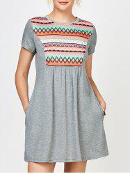 Geometric Print Tunic Dress with Pocket