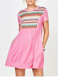 Geometric Print Tunic Dress with Pocket - PINK