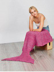 Fashion Comfortable Solid Color Handmade Wool Knitted Mermaid Design Throw Blanket - Розовый M