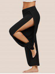 Elastic Waist High Slit Harem Pants - BLACK