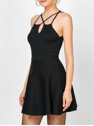 Spaghetti Strap Knit Criss Cross Dress - BLACK