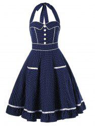 High Waist Polka Dot Printed Halter Pin Up Dress