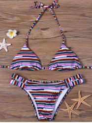 Padded Colorful Halter Brazilian Bikini Swimsuit