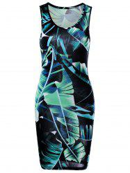Leaf Tropical Printed Mini Sheath Tank Dress - GREEN