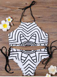 Padded Chervon Halter High Neck Bikini Swimsuit