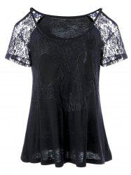 Lace Sleeve Swing Cold Shoulder T-Shirt