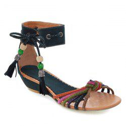 Tie Up Multicolor Tassels Sandals