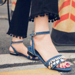Beading Denim Flat Heel Sandals