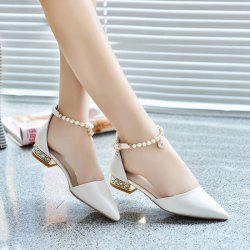 Beading Ankle Strap Flat Shoes