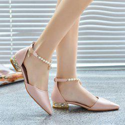 Beading Ankle Strap Flat Shoes - PINK