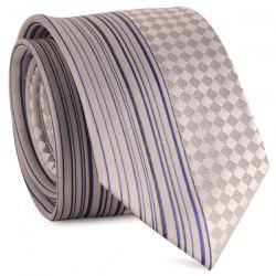 Straight Stripe Tiny Plaid Mulberry Silk Tie - FROST