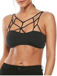 Padded Cross Strappy Bralette - BLACK