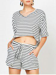 Crop Top and Striped Pockets Shorts Twinset