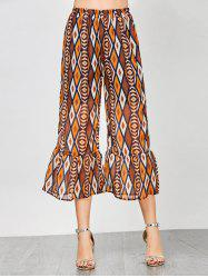 High Waisted Flounce Geometric Print Pants