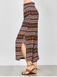 Geometric Print Side Slit Wide Leg Pants