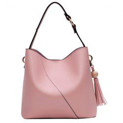 Tassel Wood Ball Shoulder Bag - PINK