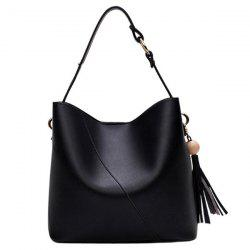 Tassel Wood Ball Shoulder Bag - BLACK