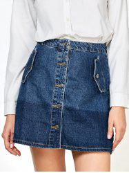 Denim Buttons Mini Ombre Skirts with Pockets -