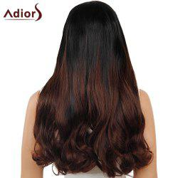 Adiors Dyeable Perm Middle Part Long Straight 180% Lace Front Synthetic Wig - BLACK AND BROWN