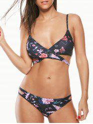 Cut Out Floral Print Wrap Bikini