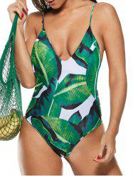 Strappy Palm Leaf Printed One-piece Swimsuit -