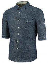 Turndown Collar Pocket Half Sleeve Denim Shirt
