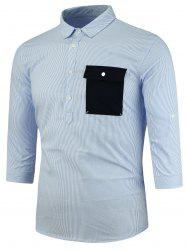 Half Button Vertical Stripe Three Quarter Sleeve Shirt