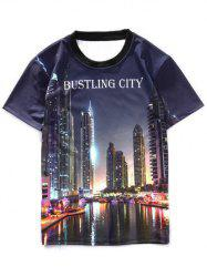 Short Sleeves Bustling City Pattern T-Shirt